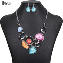 MS1504377 Fashion Jewelry Sets Hight Quality 4 Colors Necklace Sets For Women Jewelry Silver Plate Crystal Unique Design Gifts(China)