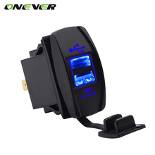12V 24V Dual USB Socket Car Charger Power Adapter 3.1A 5V Output With 4 Color LED Light For All Phone