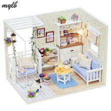 mylb Doll Furniture Diy Miniature Dust Cover 3D Wooden Miniaturas Dollhouse Toys for Children Birthday Gifts Kitten Diary
