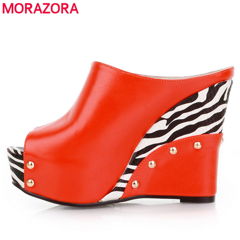 MORAZORA White and black color Womens sandals Sexy wedges High Heels Summer Shoes Ladies PU peep toe Platform<br>