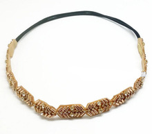 Women Girls Bohemian Gold Tube Metal Beads With Crystal Rhinestone Braided Knitted Handmade Elastic Headband Hair Accessories