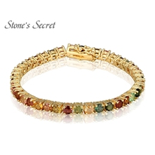 Classic Round 4X4mm Bead Muti-color Natural Stone Tourmaline 18K Yellow Gold Plated Charm Bracelet for Women Fine Jewelry B003(China)