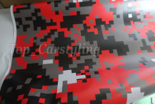 152cm x 50cm Red Black Pixel Camo Vinyl For Motorcycle /Car Wrapping styling Covering film With air bubble Free Wrapskin(China)