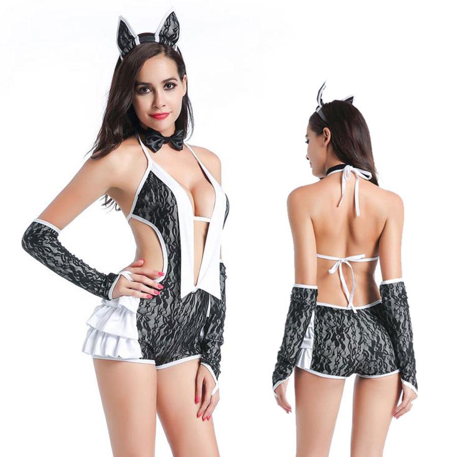 Ladies Sexy Lingerie Black White Catwoman Jumpsuit Teddie Fancy Dress Costume SM89295