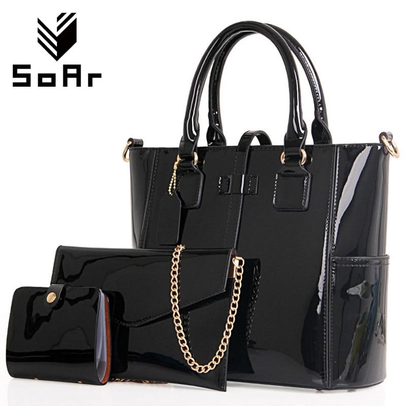 SoAr Women handbag luxury leather 2017 Women Bag Famous Brand Women Messenger Bags Chain Shoulder Bags 3 Sets Big Size Tote 1<br>
