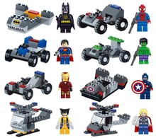 Marvel DC Lot of 16 Set Building Toy Super Heroes Batman Iron Man with Vehicles Kids Toy Gift Compatible with legoed