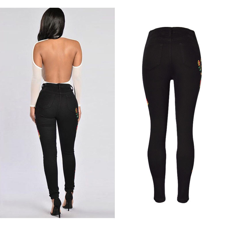 2017 European and American women hot high waist Slim stretch front and rear side cross embroidery roses cowboy pants pants pants (6)