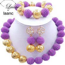 Laanc Latest Purple Jewelry Sets African Beads Jewelry Set for Nigerian Wedding AL676