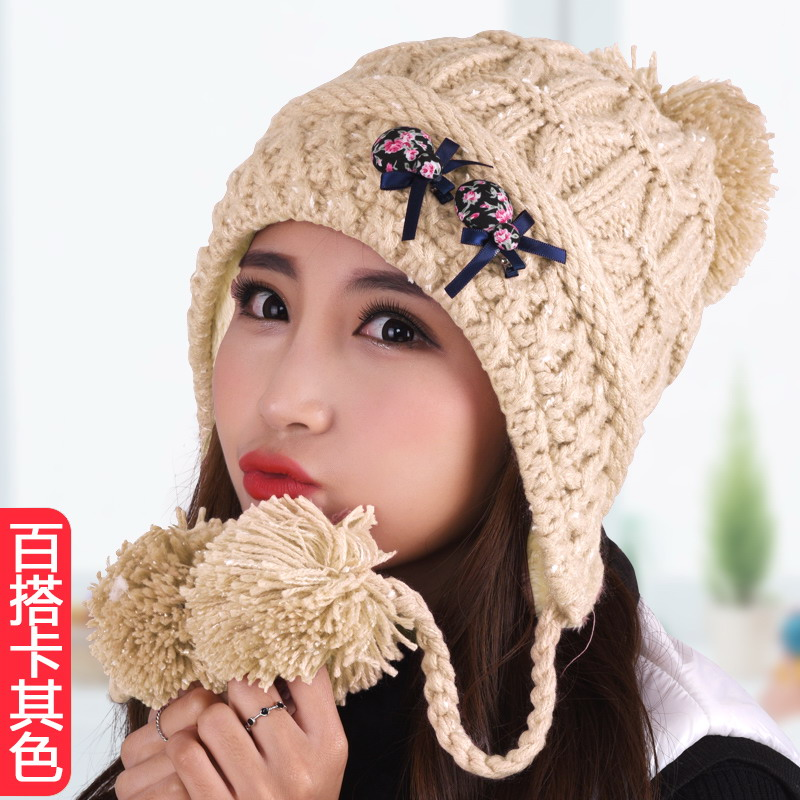 Hat female knitted woolen hat winter hat knitted thermal protector ear cap toe cap covering cap princess hat thickening fleece Одежда и ак�е��уары<br><br><br>Aliexpress