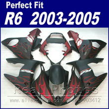 Hot sales body kits for YAMAHA R6 fairing kit 2003 2004 2005 maroon flame in matte black Fit  YZF R6 fairings 03 04 05