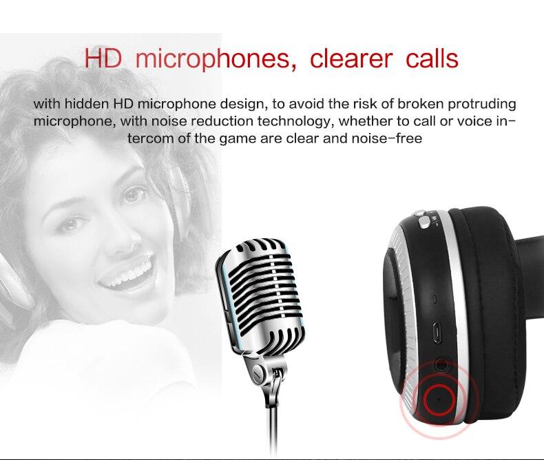 ZEALOT B19 Bluetooth Headphones Wireless Stereo Earphone Headphone with Mic Headsets Micro-SD Card Slot FM Radio For Phone & PC