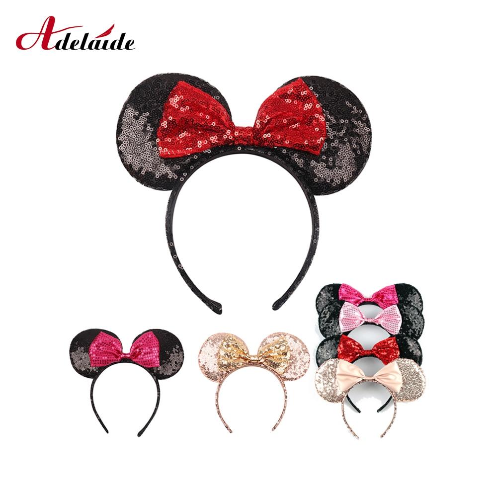 Cerchietto Bambina Nero Sparkly Glitter Mini Mouse Orecchie Con Fiocco Rosso con Lustrini