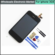 HK Post Fast Shipping OEM Full Assembly Front Glass Touch Screen LCD Digitizer + Tools for iPhone 3GS Black