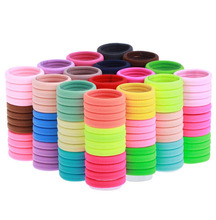 Lots 100 Pcs Candy Fluorescence Colored 4cm Hair Holders Rubber Hair Bands Hair Elastics HairBand Accessories Hair Tie(China)