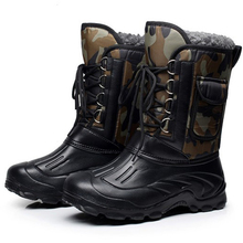 Autumn Winter Warm Men Snow Boots Military Fishing Skiing Waterproof Simple Knee-High Thickening Thermal Shoes For Walking