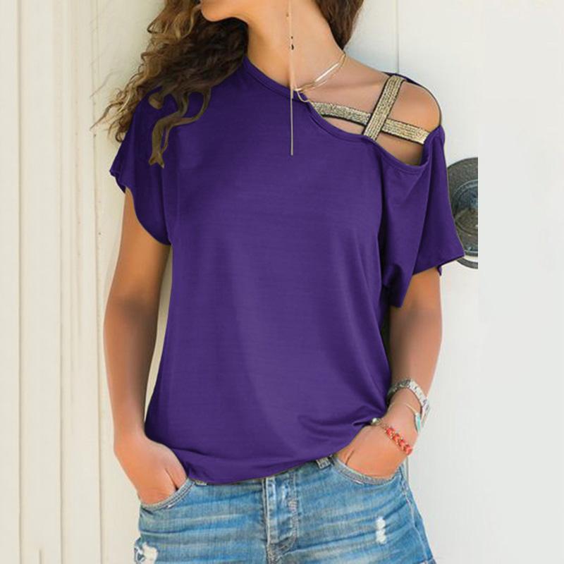 S-5XL Women Skew Neck Irregular Criss Cross Blouse Patchwork Solid Tops Blusa Femme One Shoulder Summer Shirt Hollow Plus Size