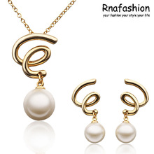 RNAFASHION Jewellery Fashion Women Jewelry Simulated Pearl Trendy Pendant Necklace Gold Silver Color For Women Accesories