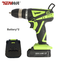TENWA  EUplug 12V Rechargeable Lithium Battery*2 Cordless hand Electric Drill percussion drilling home Electric Screwdriver