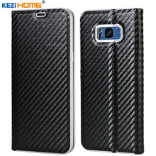 Case for S7 S7 Edge S8 S8 Plus Luxury Flip carbon fiber Leather Case capa for samsung galaxy s8 s8 Plus s7 s7 edge Wallet Cover
