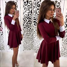 Women Office Lady Dreess Polo Collor A line Dress Elegant Cute Lady Dress Spring Autumn Dress