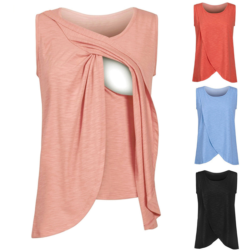 Maternity Clothes Pregnancy Clothes Summer Women Maternity Pregnants Sleeveless Double Layer T-Shirt Top Nursing Top JE10#F (1)