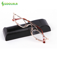 SOOLALA Womens Ultralight Reading Glasses Reader Metal Frame Clip On Makeup Magnifying Glass Cheap Best Gifts for Mother's Day