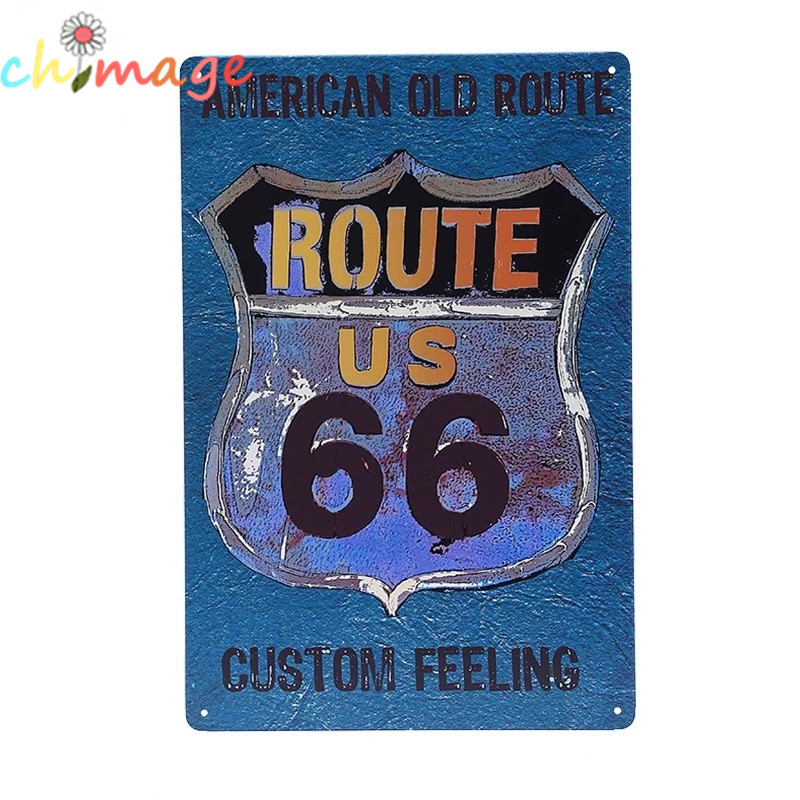 AMERICAN OLD ROUTE66 CUSTOM FEELING Vintage Tin Sign Bar pub home kitchen Wall Decor Retro Metal Art Poster(China (Mainland))