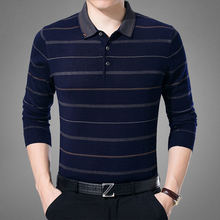 Brand quality Mid-aged polo shirt men Slim fit long sleeve Tommis Wool blends knitted Polos homme plus size Striped Camisas polo