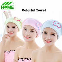 Free Shipping Women Girls Lady's Magic Quick Dry Bath Hair Drying Towel Plush Head Wrap Hat Makeup cosmetics Cap Bathing Tool