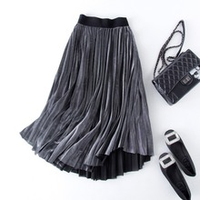 New 2017 Women Summer Skirts Elastic waist black grey Pleated Skirts Free shipping