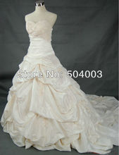 Free Shipping Unique Design Strapless Applique Ruffle A-line Wedding Dresses Custom Size/Color