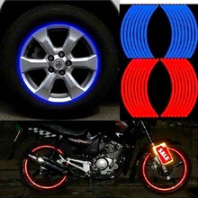 Free Shipping 18 Strips Car Styling Motorcycle Automobiles Wheel Tire Sticker On Car Rim Tape Car Sticker Parking Accessories
