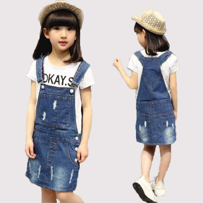 girls dress denim 2016 new summer kids girl strap dress strapless sleeveless pocket holes straight jumpsuit dresses for girls<br>