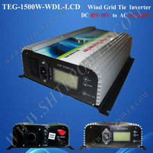 Wind Turbine Dump Load 1500W Grid Tie Inverter For Wind With Meter-LCD DC 45-90V to AC 190V-260V(China)