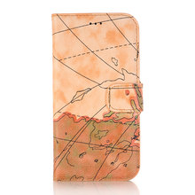 Flip Phone Cases Map Patterned PU Leather Wallet Bank Credit card Holder KickStand Case for iPhone X(China)