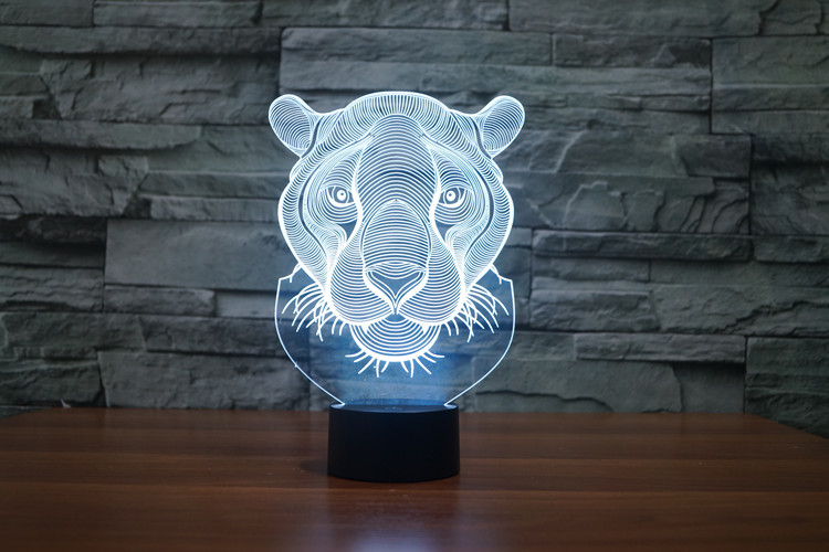 Lion Head 3D Glow LED Lamp Touch Switch Art Sculpture Lights Unique 7 Colors Lighting Effects and 3D Awesome Gift (1)