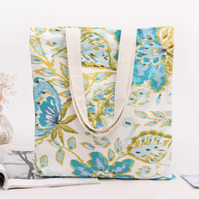 YILE NEW Cotton Canvas Shopping Tote Shoulder Carrying Bag Eco Reusable Bag Printed Blue Big Floral L208(China)