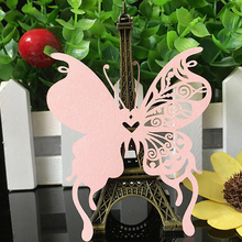50pcs 9 Colors DIY Place Card Laser Cut Butterfly Wedding Invitation Wine Glass Cup Paper Cards Name Card Wedding Party Decor(China)