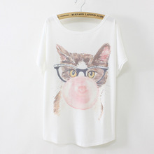 2017 New Spring Summer Women Of The Glasses Bubble Cat Printing Round Neck Batwing Sleeve Casual Top T Shirt Women Clothes
