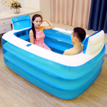 Couple Adult PVC Portable Folding Inflatable Bath Tub with Air Pump for Couple bathing(China)