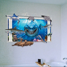 Shark stickers Home decoration wallpaper Home Decorations Small bridges 3Dwall poster Bedroom room