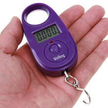 25kg x 5g Mini Electronic Digital Hanging Luggage Scale pocket Portable LCD Weight Weighing Scale Yellow/Purple(China)