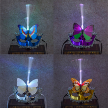 Women Girls LED Flashing Fiber Masks Glowing Colorful Butterfly Mask Carnival Wedding Masquerade Party Dress Decor Halloween