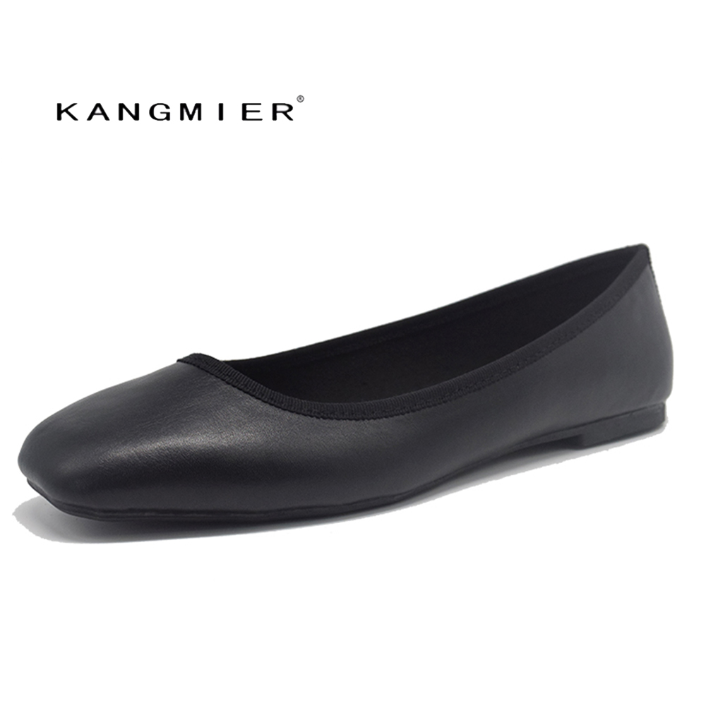 Shoes Women Flats Black Suede Ballet Flats square Toe Spring Autumn KANGMIER fashion and high quality wedding<br>