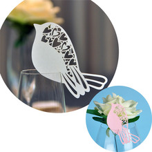12PC Bird Laser Cut Love Heart Souveris Wedding Table Place Paper Card for Party Wedding Invitations Favors and Gifts Decoration