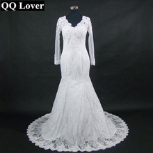 Buy QQ Lover 2017 New Arrival V-neck Long Sleeves Lace Plus Size Wedding Dress See Back Custom-made Vestido De Noiva for $112.80 in AliExpress store