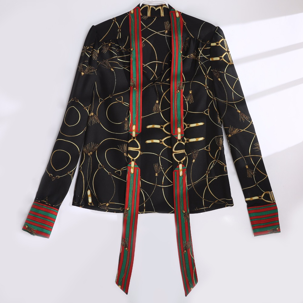 2018 Spring Women Fashion Blouse Bow Ribbon Striped Shirt Black Beige Casual Office Shirts Print Female Big Size Tops Zevrez 15