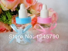 Free Shipping 24 X Lovely Blue Baby Feeding Bottle Wedding Candy Box Child Birthday Party Baby Shower Favor Boxes