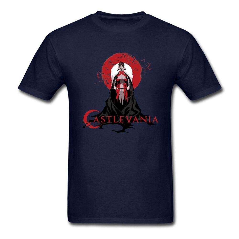 Europe Printing Men T-shirts 2018 Hot Sale Summer Short Sleeve Round Collar All Cotton Tops Shirt Cool Sweatshirts Castlevania Trevor Belmont Hunter of Vampi navy