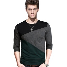Hot Sale New spring high-elastic cotton t-shirts men's long sleeve v neck tight t shirt free CHINA POST shipping Asia M-5XL(China)